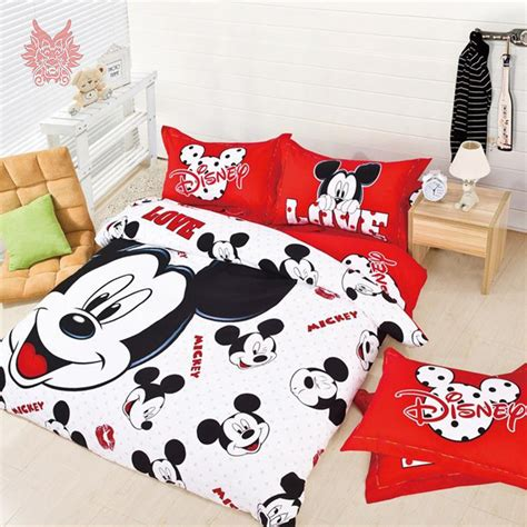 Aliexpress Com Buy Lovely Mickey Minnie Mouse Print 100 Minnie And Mickey Mouse Bed Set
