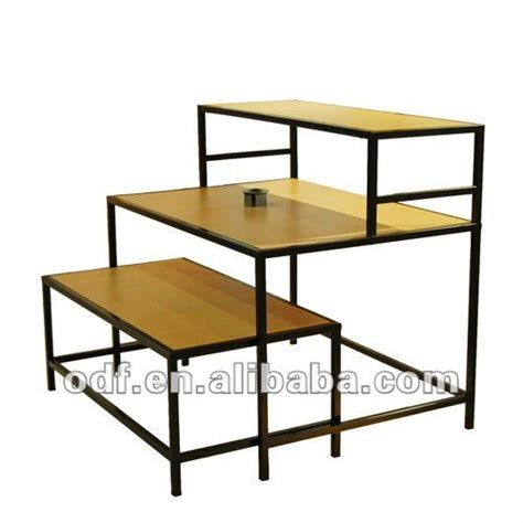 3 tier nesting retail display tables with wood tops photo