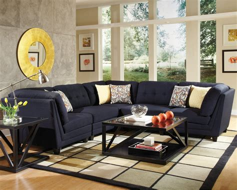 coaster living room furniture coaster keaton 5 pc sectional living room set in midnight blue