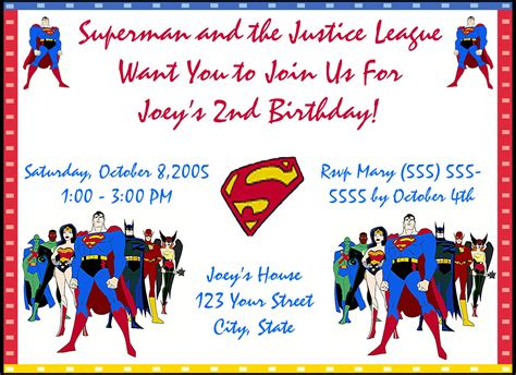 superman superpowers card template superman birthday invitations oxsvitation