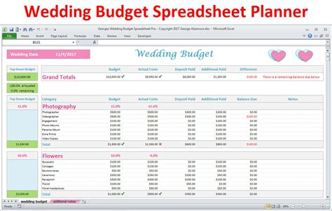 Wedding Budget by Wedding Planner Budget Template Excel Spreadsheet Wedding