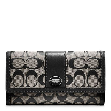 Coach Checkbook Wallet 10 lyst coach legacy signature checkbook wallet in gray