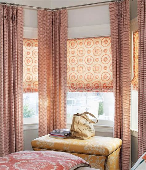 window treatment for bay windows double layered roman 23 best images about dual window treatments on pinterest