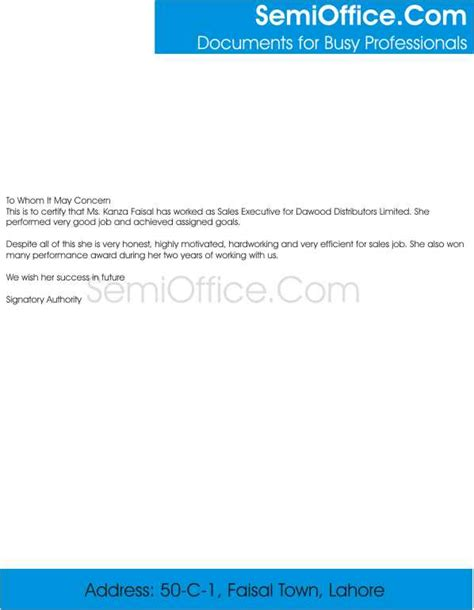 Experience Letter Free experience letter for sales executive free
