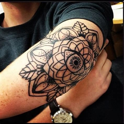 eye mandala tattoo on elbow tattooshunt com