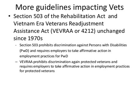 section 503 rehabilitation act veteran staffing everyone is a four star general