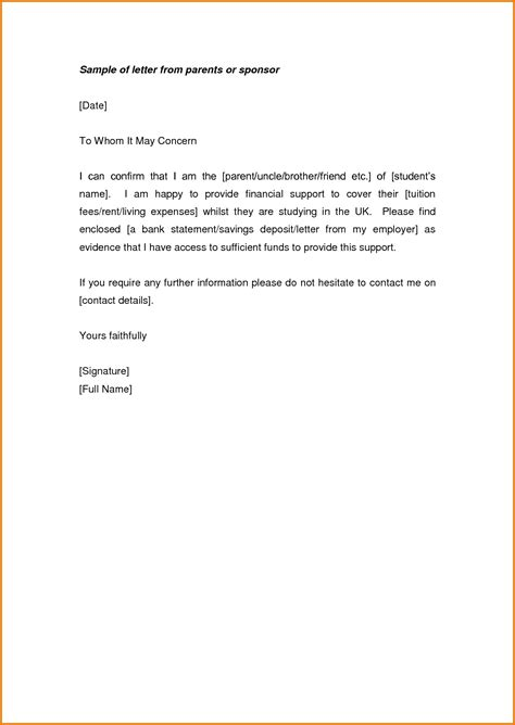 letter to parents from letter of support from parent financial support letter