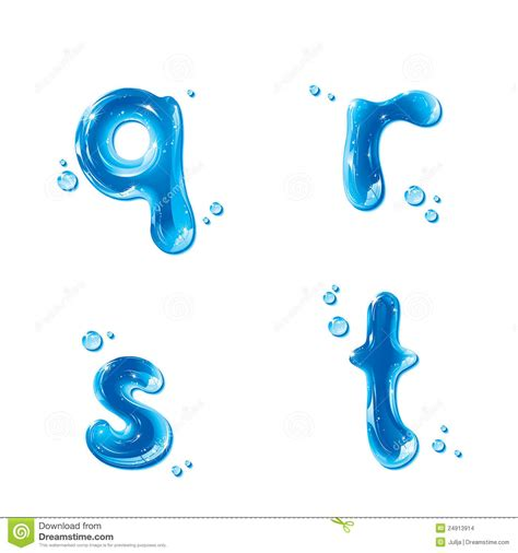 Letter Small abc water liquid set small letter m n o p