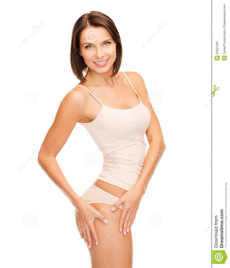 woman in cotton underwear showing slimming concept stock