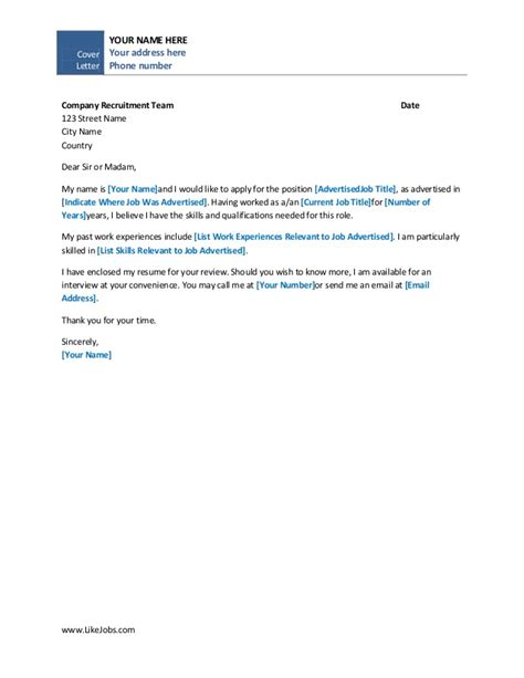 cover letter template easy simple cover letter template
