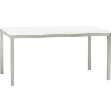 Dining Table With Stainless Steel Top White Top Stainless Steel Base 60x36 Parsons Dining Table In Dining Tables Crate And Barrel