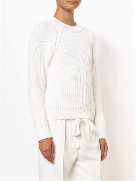 calvin klein knit sweater lyst calvin klein ribbed knit sweater in white