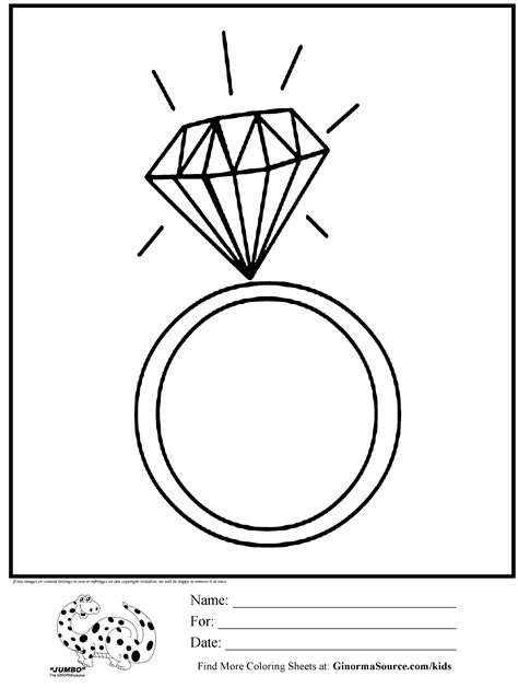 coloring page diamond ring jewelry it s party time