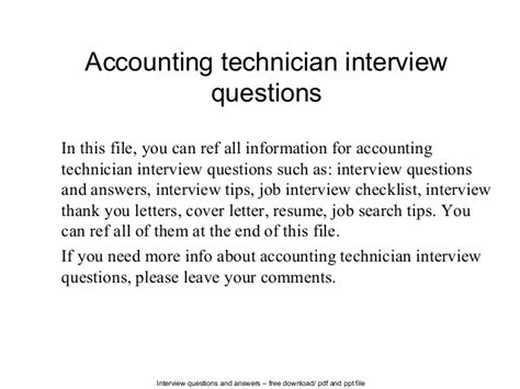 Thank You Letter For Accounting Accounting Technician Questions
