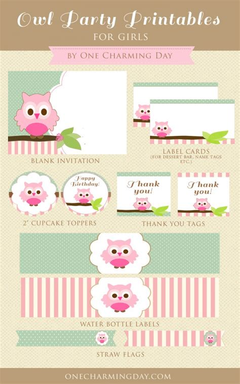 Owl Birthday Card Printable Free Owl Party Printables Set For Girls One Charming Day