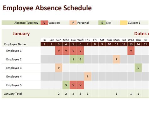 employee absence template employee absence schedule office templates