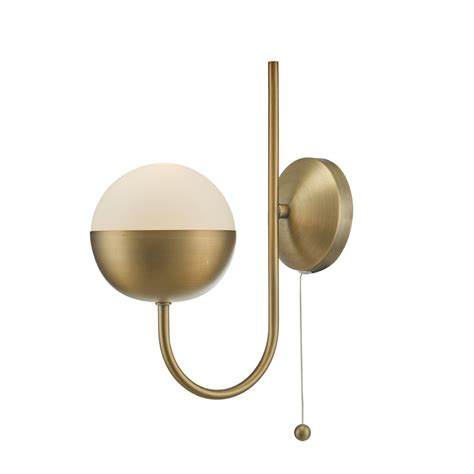 Childrens Bathroom Ideas Dar And0742 Andre Aged Brass And Opal Glass Globe Wall Light