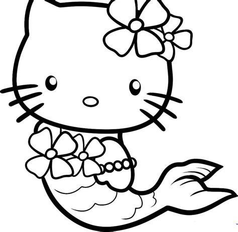Coloriage De Hello Kitty Sirene