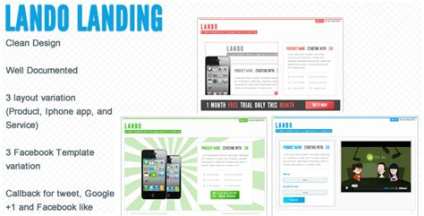 Lando Landing Page With Facebook Template By Flatlylab Themeforest Iphone App Landing Page Template