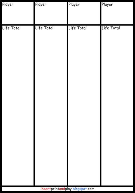 mtg card printing template magic the gathering printable tracking sheets