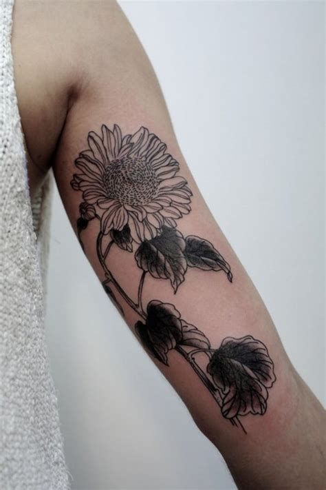 black and white sunflower tattoo sunflower black and white creativefan