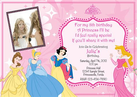 princess birthday party invitations ideas