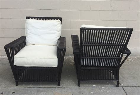 Upholstered Patio Furniture by Fantastic Pair Of Wicker Bamboo Patio Chairs Upholstered