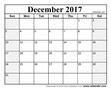 E Calendar 2017 December 2017 Calendar Pdf Printable Template With