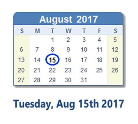 15 Calendar Days August 15 2017 Calendar With Info And Count