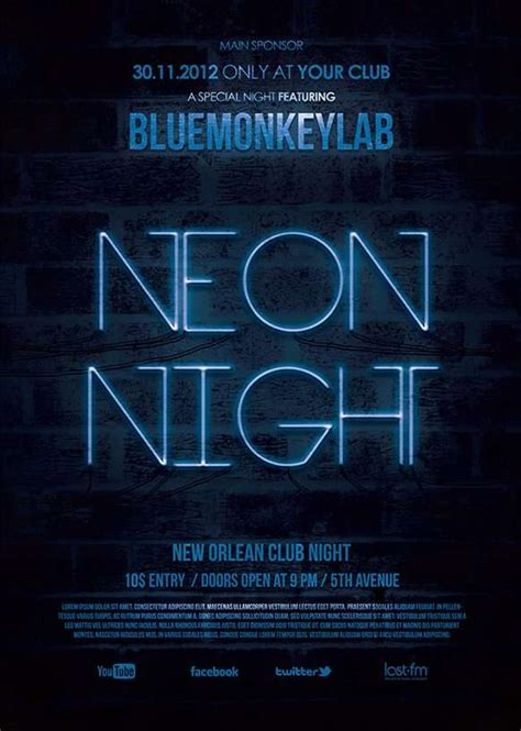 Download The Neon Night Free Flyer Template For Photoshop Neon Flyer Template Free