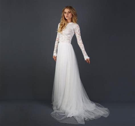 beautiful lace sleeve wedding dress with silk chiffon and soft tulle skirt zoey