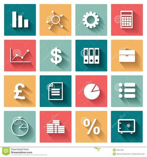 flat design icon download business flat icons set for web and mobile stock vector