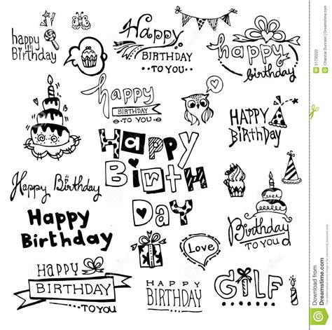 doodle happy birthday 17 doodle happy birthday stock vector image of