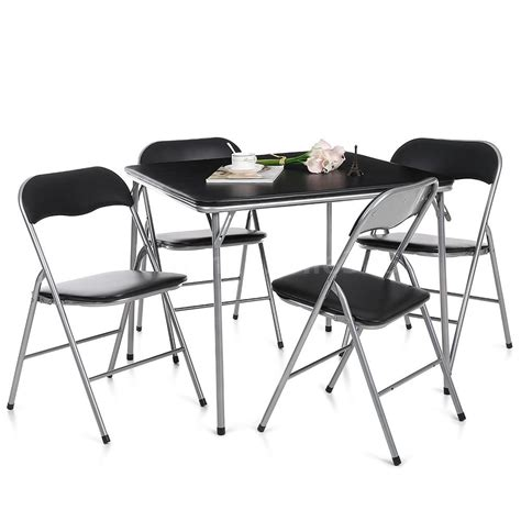Folding Kitchen Table Set Metal Folding Dining Table Set And 4 Chairs Kitchen Furniture Black Easy Carry