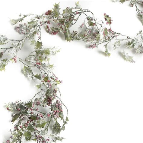 sparkling frosted artificial holly garland garlands
