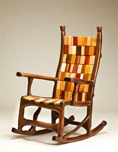 handmade walnut rope and block rocking chair by darin