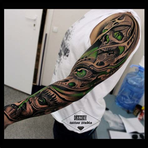 green tattoo sleeve black and white and green black and