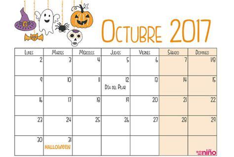 Calendario Octubre Noviembre 2017 Octubre Calendario Escolar 2017 2018 Para Imprimir