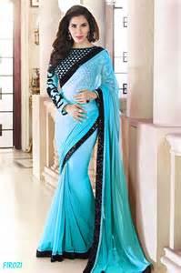 Home Design Decor Shopping Online buy firozi plain georgette designer saree with blouse online