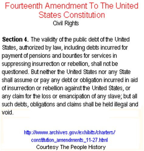 14th Amendment Section 4 Meaning 14th amendment for