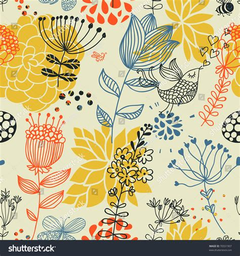 design pattern used in spring spring floral design pattern birds stock vector 70551907