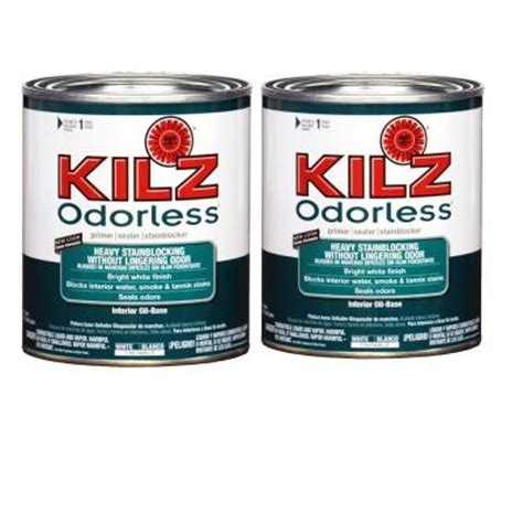 home depot paint no primer kilz 1 1 qt based white odorless primer 2 pack