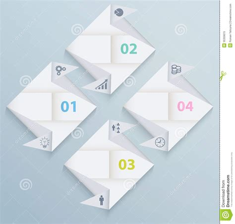 Origami Web Design - infographic template with origami paper squares royalty