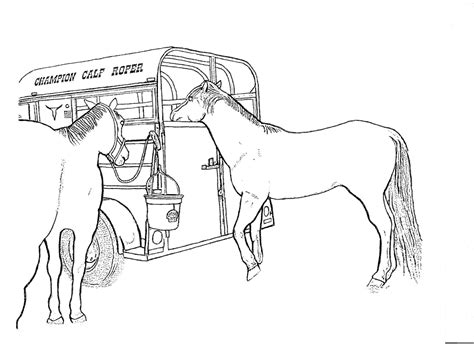 Coloring Pages Horse Trailer | rodeo coloring pages two horse trailer color page by