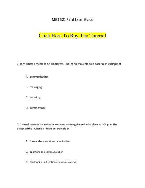 mgt 521 final exam guide 1 john writes a memo to his