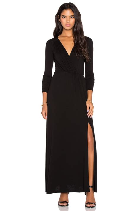 lamade rayon crepe sapphire surplice maxi dress in black lyst