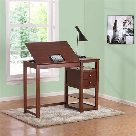 Counter Height Desk With Storage by Counter Height Drawing Table With Storage In Walnut