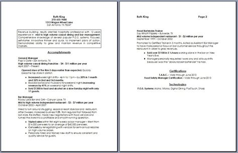 restaurant experience resume sle image restaurant manager resume regular resume