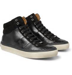 jimmy choo belgravia scored leather high top sneakers