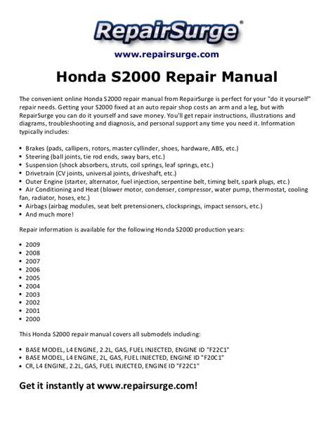 service manuals schematics 2009 honda s2000 free book repair manuals honda s2000 repair manual 2000 2009